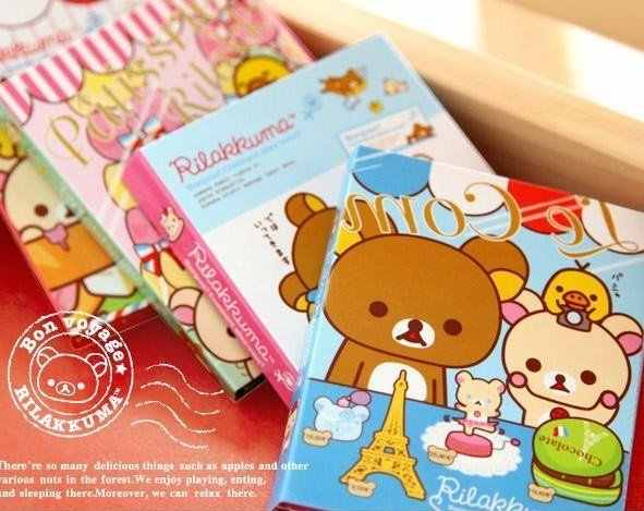 1pack/lot  Cute rilakkuma on travel Notepad Memo 4 fold sticky note pad notebook