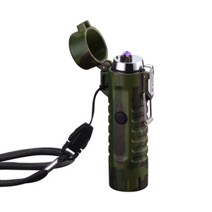 Usb Led Flashlight plasma Cigarette lighter Camouflage Lighters Waterproof torch Lamp double arc lighter For man Camping Smoking(China)