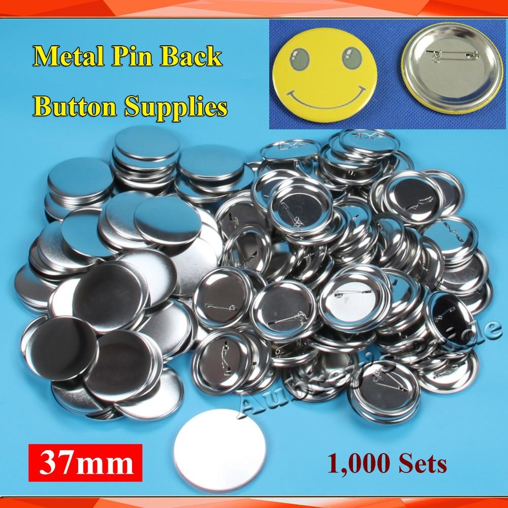 """1 1/2 """"37mm 1.000 Sets nuevo profesional todo acero insignia botón fabricante Pin Back Metal Pinback botón suministro de materiales-in Identificaciones from Hogar y Mascotas    1"""