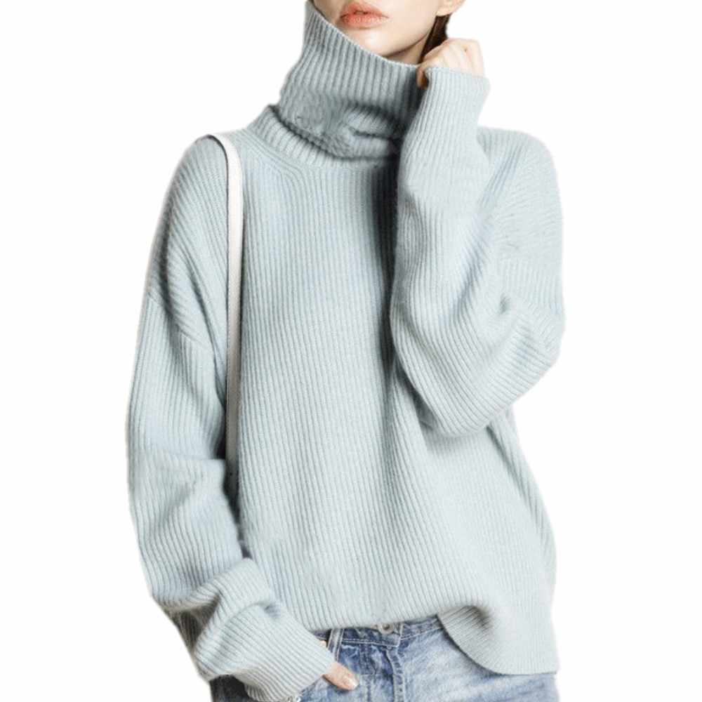 Sastre oveja invierno suéter de cuello alto Mujer suelta cabeza grueso corto Cachemira suéter femenino de gran tamaño