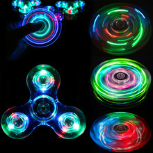 Trefoil Spiners Led Fidget Spinner Metal Hand Top Spinners Glow In Dark Light Figet Spiner Finger Cube Stress Relief Kids Toys E(China)