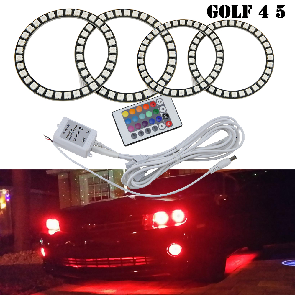 IR remote control RGB Multi-color Car Angel eyes LED Kits For VW GOLF4/MK4/Typ1J Angel Eyes Kits #J-4282 for Golf 5 V MK5 03-09 new e39 rgbw ir remote control led marker angel eyes for bmw e87 e60 e61 e63 e64 e65 e66 e53 e83 x5 rgb color changing lighting