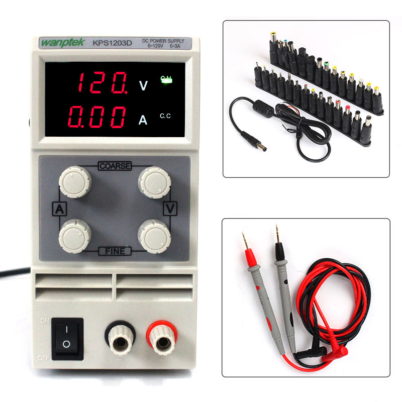 Wanptek KPS1203D 120V 3A Adjustable High precision digital LED display switch DC Power Supply ,with probe pen 28PCS Terminal switch power kps3010d adjustable high precision double led display switch dc power supply protection function 30v10a 110v 230v