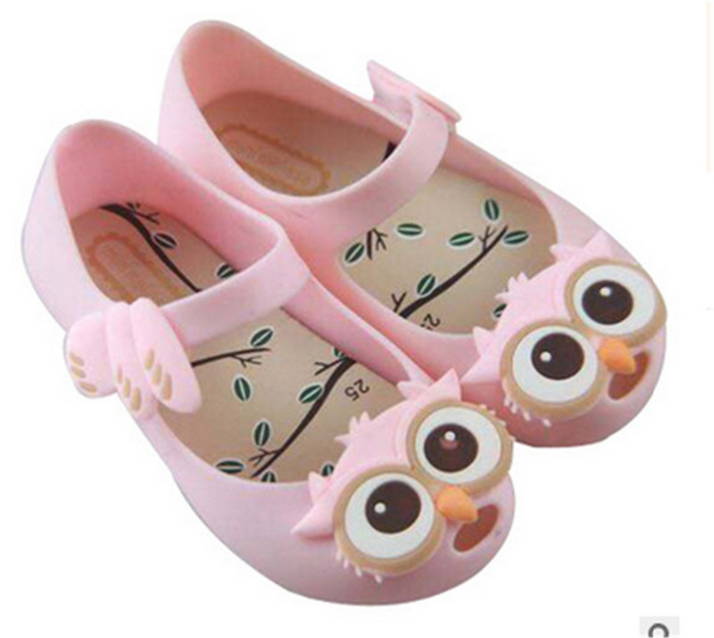 Mini Melissa Shoes Owl Toddler Girls Sandals Kids Rubber Jelly Shoes For Girls Summer Flats Children