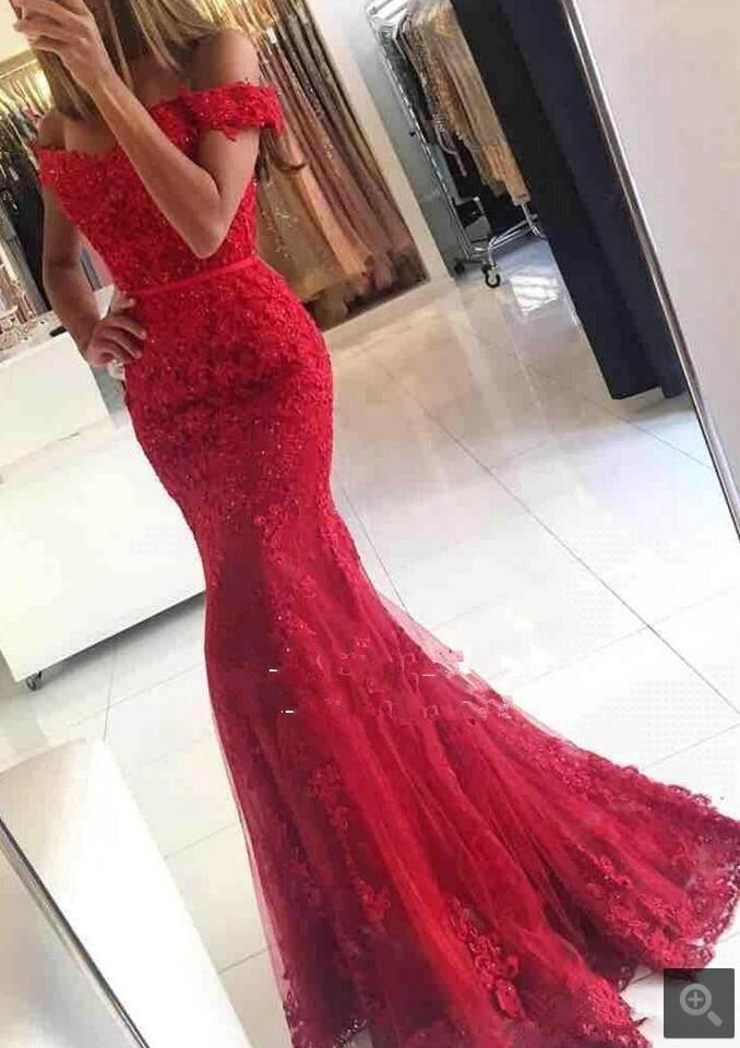 Robe De Soiree Mermaid Evening Dress appliques formal Celebrity Dresses dari bahu gaun malam manik-manik dijual