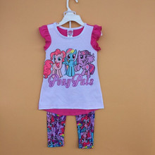 Original Brand New Hot Girls Toddler Little Pony Top Shirt+Printed Legging Sets 2pcs Outfits Fashion Clothing Age2-7T, 6sets/lo