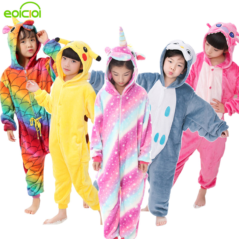 EOICIOI Flannel Children Pajamas Set Winter Hooded Animal Unicorn Pikachu Stitch Kids Pajamas For Boys Girls Sleepwear Onesies(China)