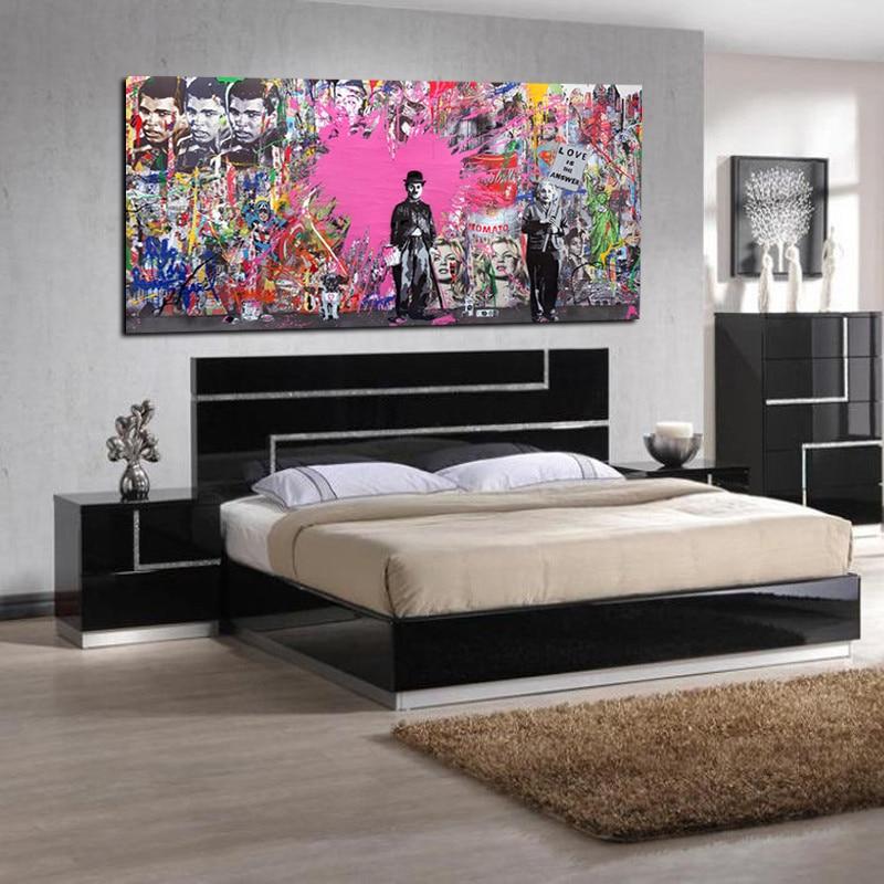 Buy banksy art graffiti prints charlie chaplin hd print for Buy canvas prints online