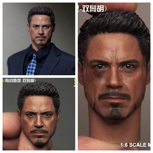 1:6 scale male Figure accessories Robert Downey Jr. Iron Man Tony Stark head shape carved for 12 Action figure doll 1 6 scale male head sculpts model toys downey jr iron man 3 captain america civil war tony with neck sets mk45 model collecti f