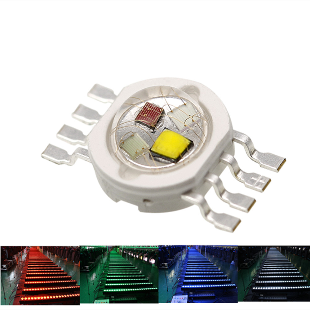 10-100PCS  RGBW LED Diode 8pins High Power LED Chip 4W Colorful Four Core Sources DIY Molding LED Stage Lights Beads