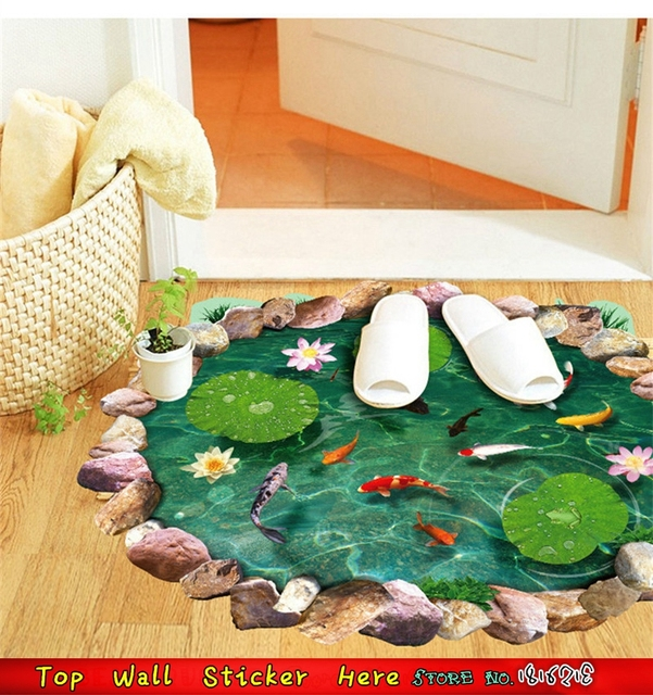 fashion fish carp ponds wall stickers lotus kitchen wall hole floor decorative home decoration wall sticker - Lotus Kitchen