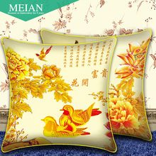 The United States Coast 3D cross stitch pillow a pair of new wedding flowers rich Yuanyang cross stitch room sofa(China)