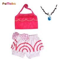 PaMaBa 2Pcs Set Newborn Baby Girls Infant Toddler Swimwear Kids Moana Bikini Swimming Suit Beach Outfit