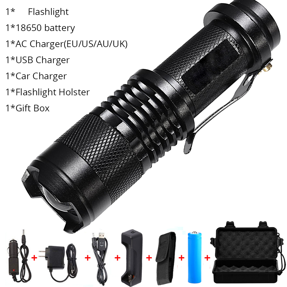 18650 Battery Powerful Zoom LED Flashlight Torch Light 5Modes Charger