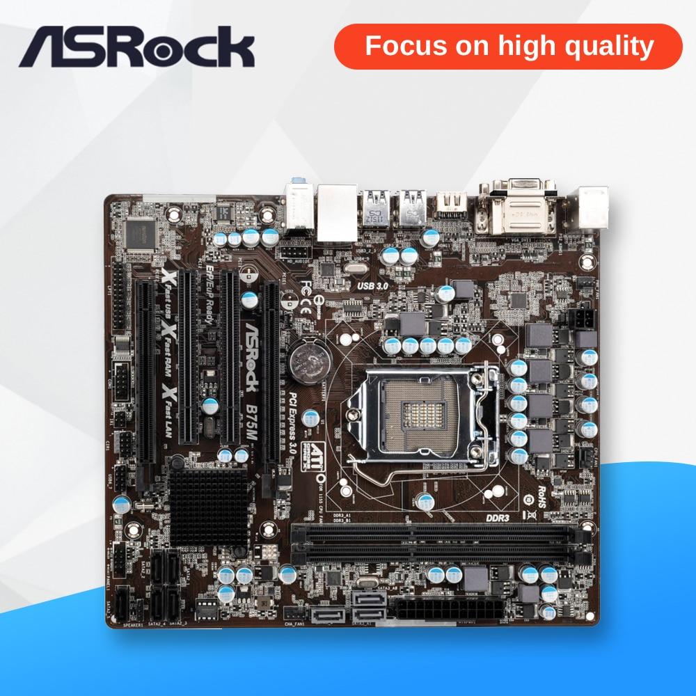 Asrock B75M Desktop Motherboard B75 Socket LGA 1155 i3 i5 i7 DDR3 16G USB3.0 Micro-ATX msi original zh77a g43 motherboard ddr3 lga 1155 for i3 i5 i7 cpu 32gb usb3 0 sata3 h77 motherboard