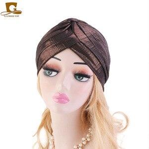 Image 2 - New fashion metallic ruffle turban Headwrap women headwear muslim hat Headwear Turbante Hijab Hair Accessories