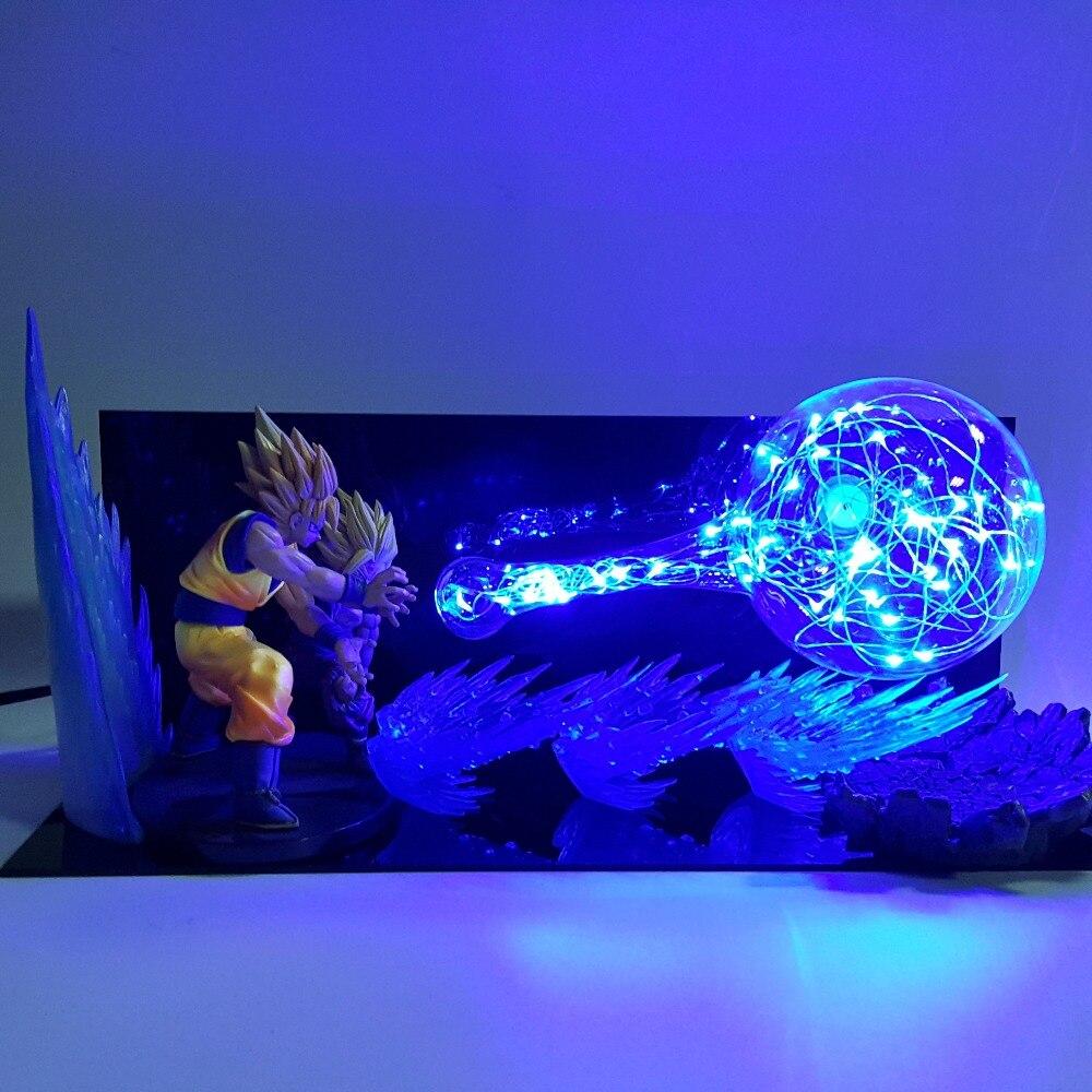 Dragon Ball Z Goku Père Fils LED Veilleuses Dragon Ball Super Figurine Anime Gohan Goku Kamehameha Lampe de Table