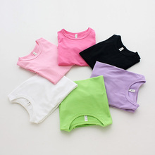 2017 New Boy Girl Kids T-shirt Summer Clothing Casual Candy Color Short Sleeve Tops Blouses T Shirt Tees Clothes Hot Sale 212