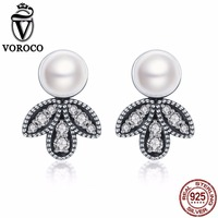 VOROCO Pure 100 925 Sterling Silver Lady Delicate Leaf Natural Freshwater Pearls Stud Earrings For Women