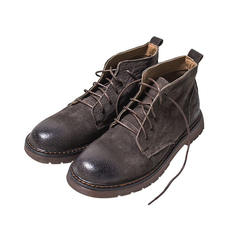 Vintage Style Men Boots Natural Leather Autumn And Winter Shoes Water Proof Work&Safety Shoes Men Quality Ankle Boots Grey Brown