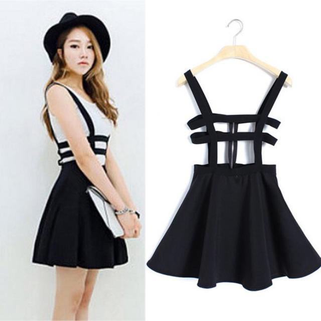 68250b15727 Women A-line Skirt Overall Pleated Suspender Skirt Braces Back Hollow Out  Bandage Mini Skater