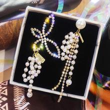 Nowa moda symulowane perły kolczyki Trendy kropla wody kobiety dynda proste asymetryczne kolczyki motyl kobiet koreański kolczyk tanie tanio Spadek kolczyki Ze stopu cynku Symulowane perłowej Pearl NoEnName_Null
