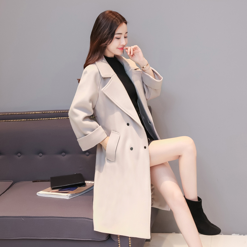 2017 autumn and winter new womens Korean version of long lace loose thin thick hair coat ...