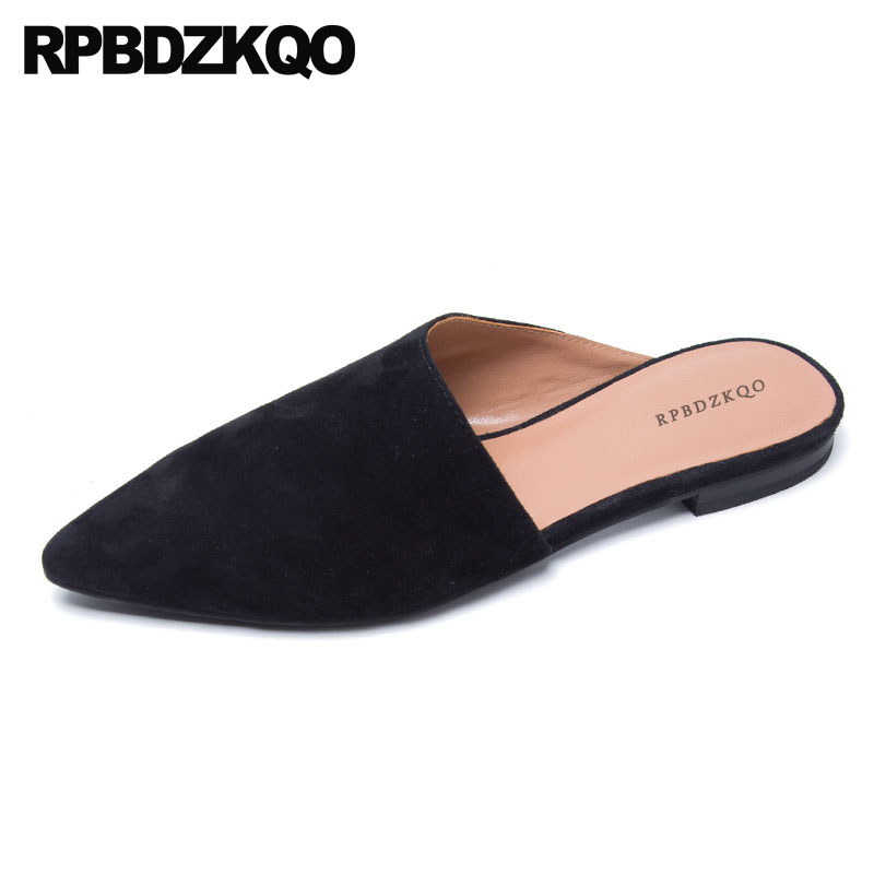 29d3d0df62 Flats Designer Shoes Women Luxury 2018 Black Size 9 Green Sandals Slip On China  Pointed Toe Italian Mules Ladies Slippers Suede