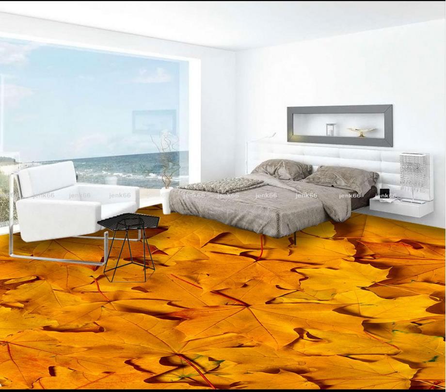 custom photo 3d floor wallpaper murals vinyl flooring bathroom paint romantic leaves flooring rollchina - Vinyl Flooring Rolls