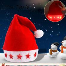 2017 ISHOWTIENDA 1 pieza sombrero de Navidad Unid brillante luminoso Led  rojo intermitente estrella Santa sombrero para la decor. 49693a6d170