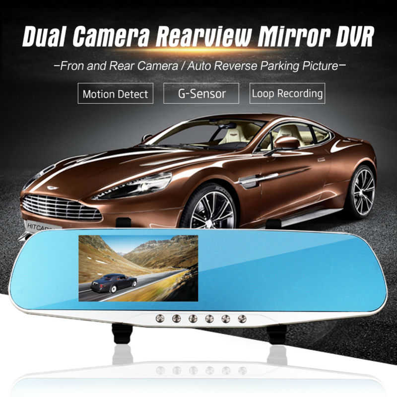 Dual Camera Full HD 1080P Car DVR Black Box Rearview Mirror with Reverse Rear View Parking Camera Motion Detector G Sensor 1