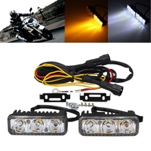цены YAM 2x 12V 6 LED High Power Car White DRL & Amber Turn Signal Daytime Running Light