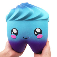 Kawaii Squeezable Jumbo Giant Cartoon Tooth Slow Rising Scented Stress Relief Toys Stress Reliever Squeeze Toys for Children