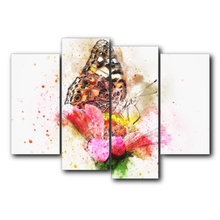 Laeacco Canvas Painting Calligraphy 4 Panel Watercolor Butterfly Posters and Prints Flower Wall Pictures Home Living Room Decor