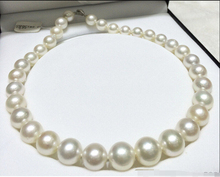 FREE SHIPPING 13-15mm SOUTH SEA WHITE ROUND PEARL NECKLACE 18inch