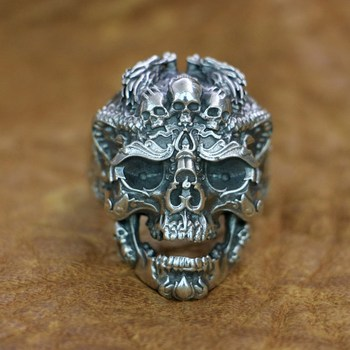 925 Sterling Silver Dragon Claw Red CZ Stone Mens Biker Ring 8E006A US 7~15
