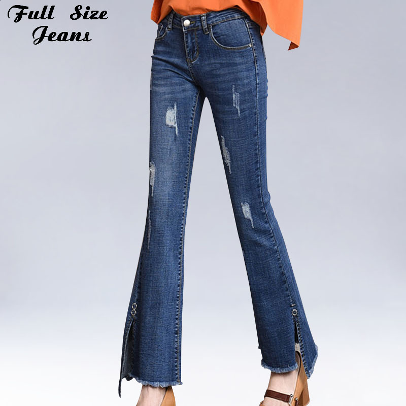 Plus Size Side Split Capris Flare Jeans 4Xl 5XL 7XL Autumn Streetwear Ripped Stretch Ankle Length Bell-Bottom Denim Pants