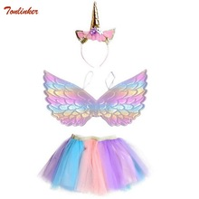 New Tutu Skirt Baby Girl Skirts With Headband Wings Princess Mini Pettiskirt Party Dance Rainbow Tulle Skirts Children Clothing цены