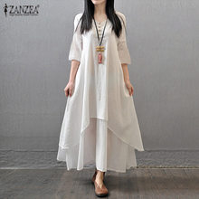 Plus Size S-4XL ZANZEA Summer 2018 Cotton Linen Dress Women Half Sleeve V Neck Casual Long Maxi Dress Kaftan Vestido