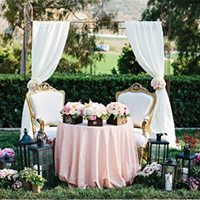 Pink Sequin Tablecloth 72 Round Wedding Table Cloth Overlays Glitter Cover For