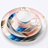 Watercolour Dinnerware Set Gold Pink Food Plate Scrawl Coffee Cup And Saucer Dessert Dishes Tableware Set 10inch 8inch Flat Tray