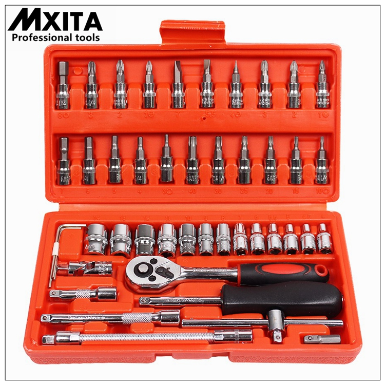 46pcs 1/4-Inch Socket Set Car Repair Tool Ratchet Torque Wrench Combo Tools Kit Auto Repairing Gator Grip Wrenches Hand Tools chrome vanadium steel ratchet wrench set 46 pcs of repair tools for vehicle bicycle bike socket wrench kit tool