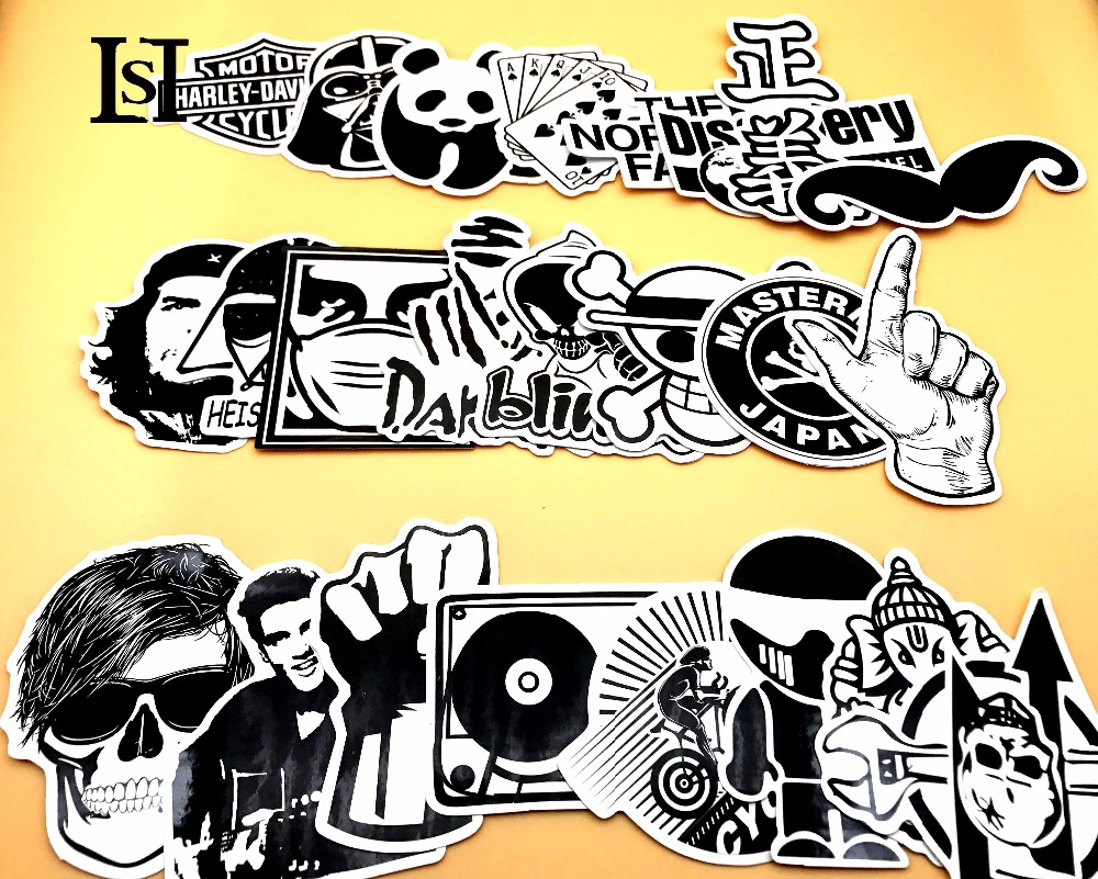 LST 24pcs/lot Mixed Black and White stickers for laptop sticker decal fridge skateboard PVC stickers for Travel Box 159