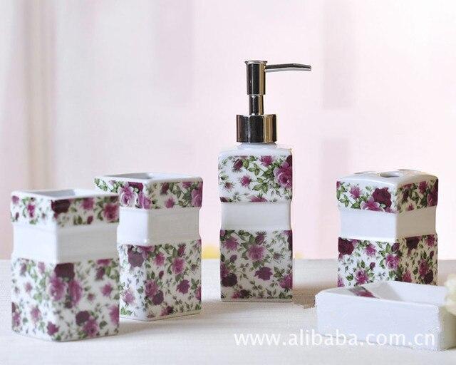 5 Stucke Rote Rose Muster Keramik Badezimmer Set Pflegeprodukte