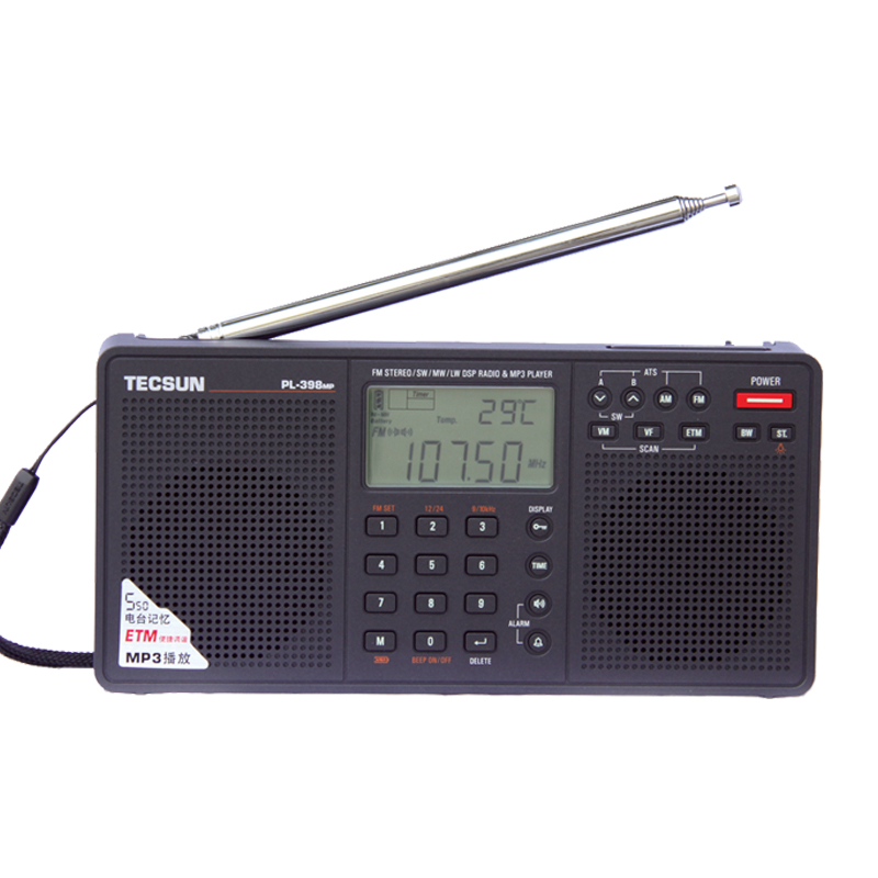 Tecsun PL-398MP Портативный радио 2,2 ''Full Band Цифровая настройка стерео FM/AM/SW радиоприемник MP3 плеер tecsun
