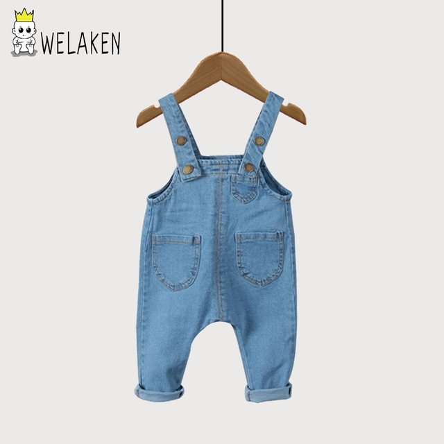 weLaken 2017 New Spring Kids Denim Overalls Outerwear Solid Kids Clothes Fashion Baby Pants Boys Girls Overalls
