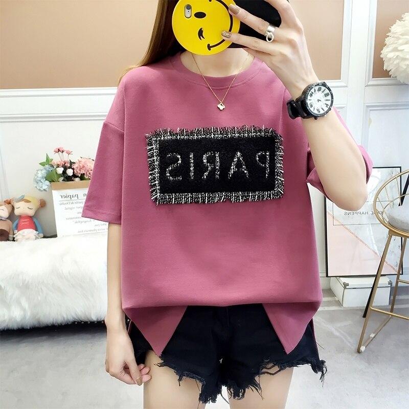 Women's   T  -  shirt   Cotton Korean New Fashion Loose Short Sleeve Printed   T  -  shirt   Female   T     Shirt   Tops
