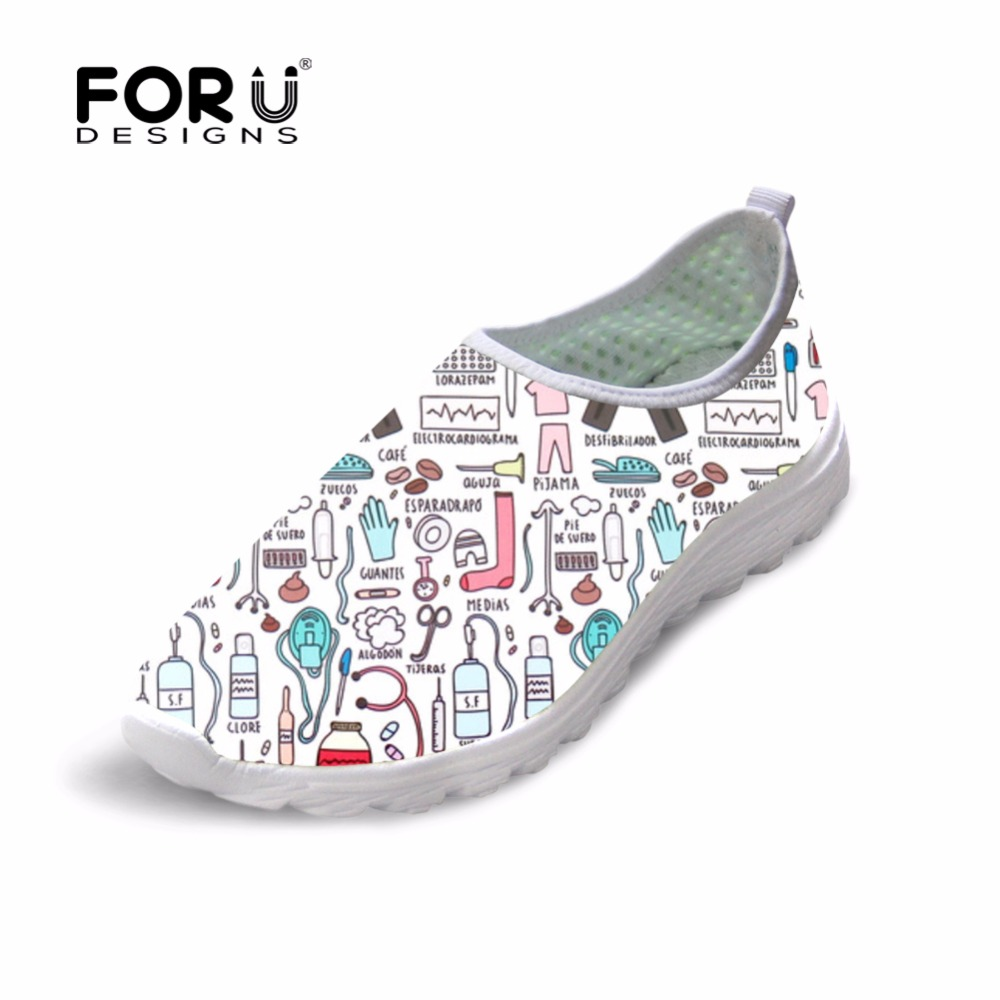 FORUDESIGNS Sneakers Women Cute Nurse Printed Female Summer Casual Walking Shoes Beach Comfortable Light Flats Shoes for Student forudesigns musical note women sneakers flats fashion girls casual beach light loafers female summer slip on shoes woman walking