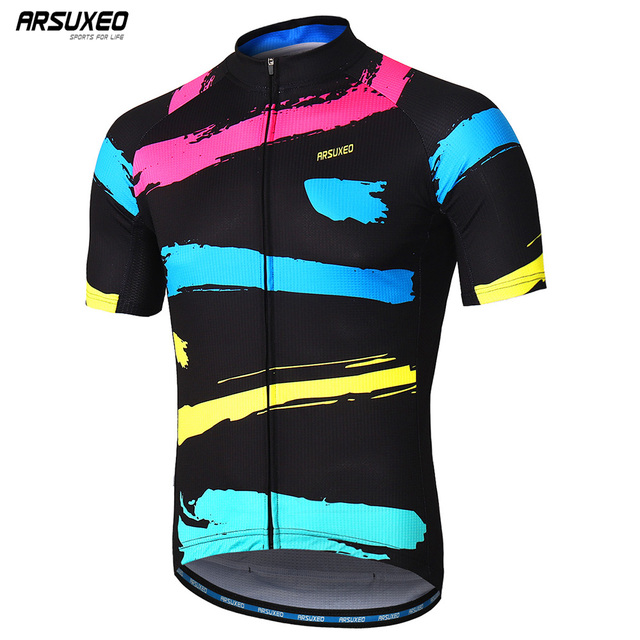 ARSUXEO Mens Cycling Jersey Short Sleeves Mountain Bike Bicycle Shirts MTB Road Jersey Reflective Zipper Pockets Z84