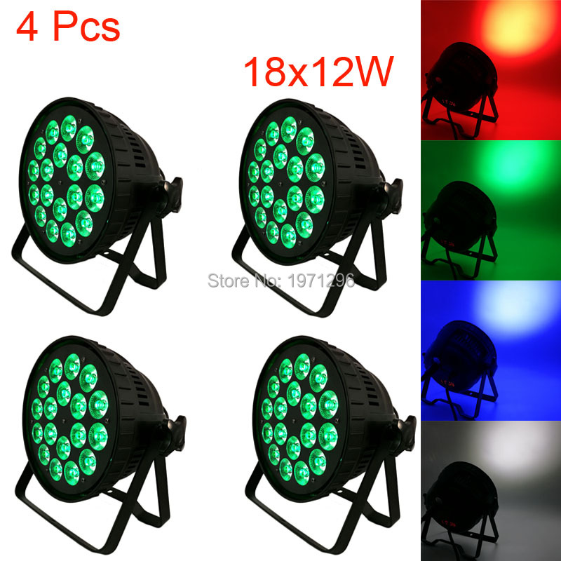 4Pcs 18x12W 4IN1 RGBW Led Par Can Light DMX Stage Lights Business Par Lights Professional Par Can for Party KTV Disco DJ Lamp 8pcs lot 18x12w rgbw 4in1 led par light dmx stage lights business lights professional flat par can for party ktv disco lamp